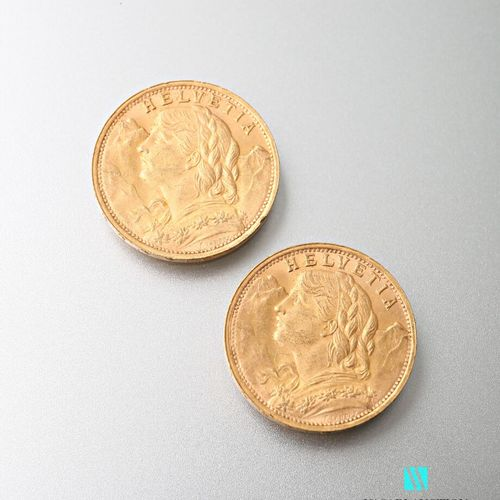 Two 20 Swiss franc gold coins, Vreneli, 1935  weight : 12,89 g