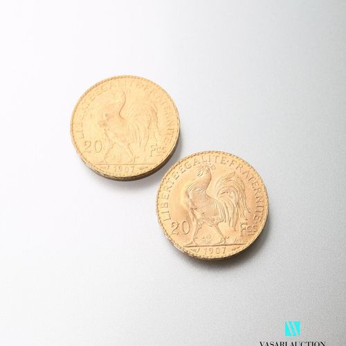 Two gold coins, 20 francs, French Republic, Marianne 1907 after Jules Clément Ch…