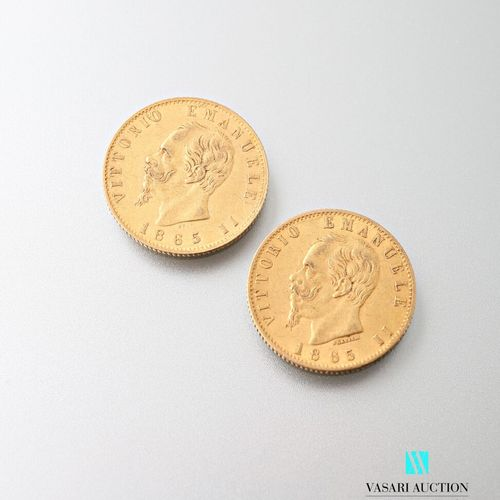 Two 20 lira gold coins, Vittorio Emanuele II, 1865  weight : 12,88 g