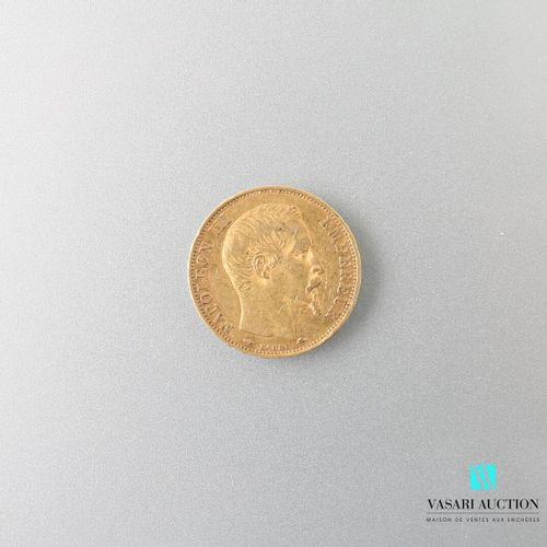 Gold coin, 20 francs, Napoleon III, 1857  weight : 6,41 g