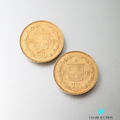 Two 20 Swiss franc gold coins, Confederation, 1891  weight : 12,88 g