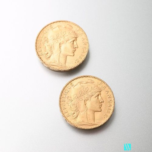 Two gold coins, 20 francs, French Republic, Marianne 1905 after Jules Clément Ch…