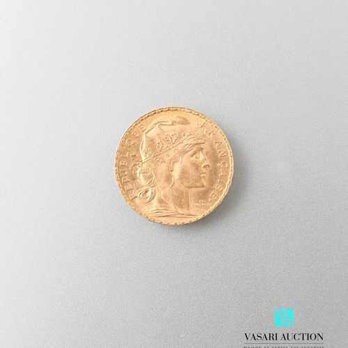 Gold coin, 20 francs, French Republic, 1912  weight : 6,44 g