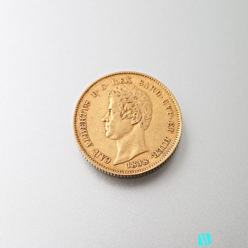 20 L gold coin, Charles Albert, 1838  Weight : 6,40 g