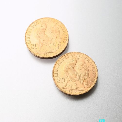 Two gold coins, 20 francs, French Republic, Marianne 1910 after Jules Clément Ch…