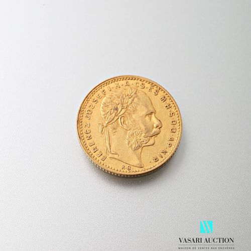 Gold coin of 20, francs or 8 forint, Francois Joseph I 1886  weight : 6,44 g