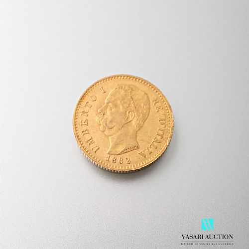 20 L gold coin, Humbert I, 1882  weight : 6,44 g