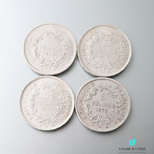 Lot comprising four silver coins of 5 francs featuring Hercules after Augustin D…