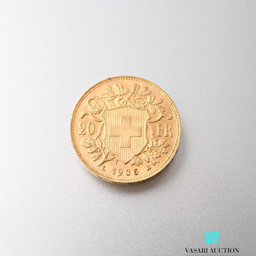 20 Swiss franc gold coin, Vreneli, 1935  weight : 6,44 g