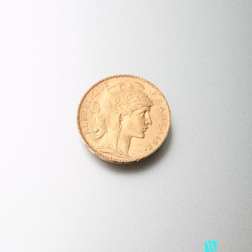Gold coin, 20 francs, French Republic, Marianne 1904 after Jules Clément Chaplai…