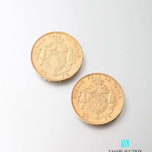 Two 20 franc gold coins Leopold II, 1878  weight : 12,87 g