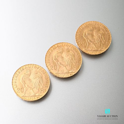 Three 20 franc gold coins featuring Marianne and the Rooster after Jules Clément…