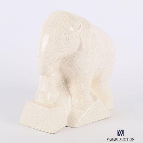 STR FRANCE  Sujet en faïence craquelée figurant un éléphant  Porte tampon au rev…