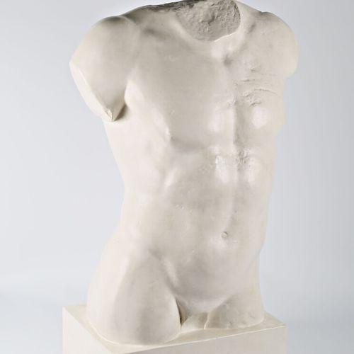 Reproduction en plâtre d'un buste d'homme sur socle  Cachet MRAH KMKG Brussels a…