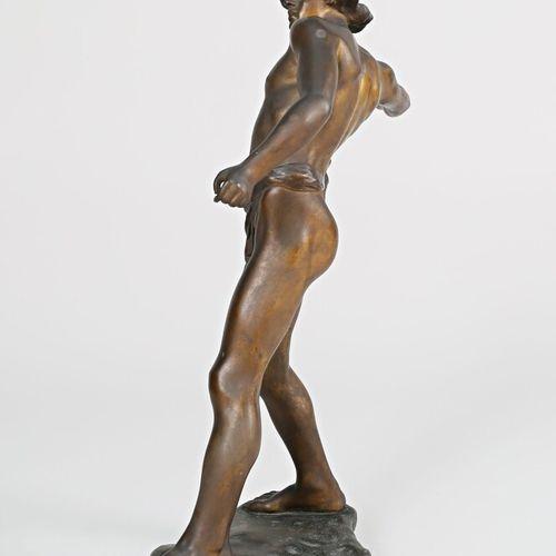 PORCHER Eugène (XIX XXème siècle), d'après  Le lanceur  Bronze  Signé sur la ter…