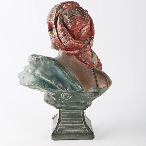 Sujet en plâtre patiné polychrome figurant un homme au turban  Monogrammé B au r…