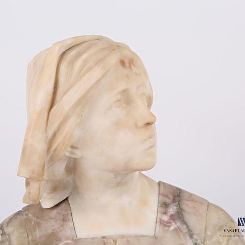 Scupture en albâtre figurant un buste de jeune fille à la coiffe  (petites égren…