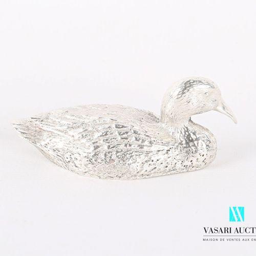 Sujet en argent figurant un canard.  Poids : 136,80 g Long. : 6,5 cm