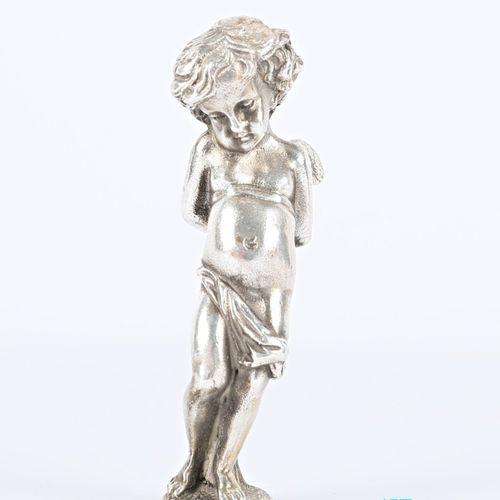 Cachet aveugle en argent, le manche figurant un angelot.  Poids : 157,70 g