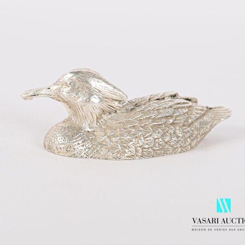 Sujet en argent figurant un canard huppé.  Poids : 101,45 g Haut. : 20 cm Long. …