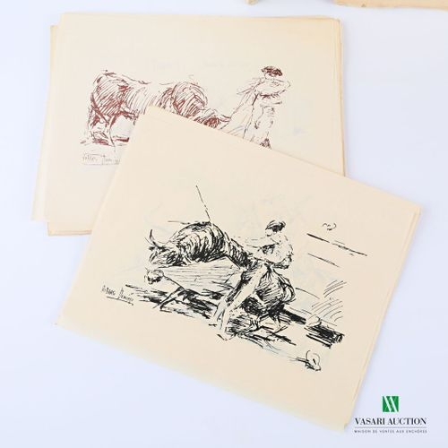 LEAL Juan Corridas Bordeaux Pechade 1950 un volume grand in 8° broché en feuille…
