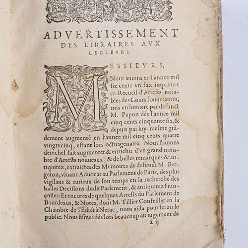 PAPON Jean Receuil d'arrets notables des cours souveraines de France ordonnez pa…