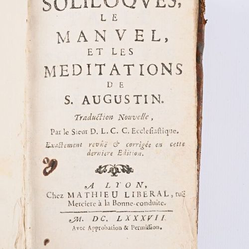 ANONYME Les soliloques, le manuel et les méditations de St Augustin Lyon Mathieu…