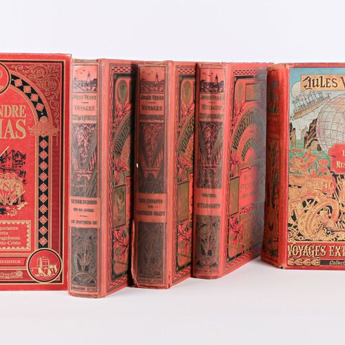 [JULES VERNE]  Lot comprenant quatre ouvrages Collection Hetzel : Michel Strogof…