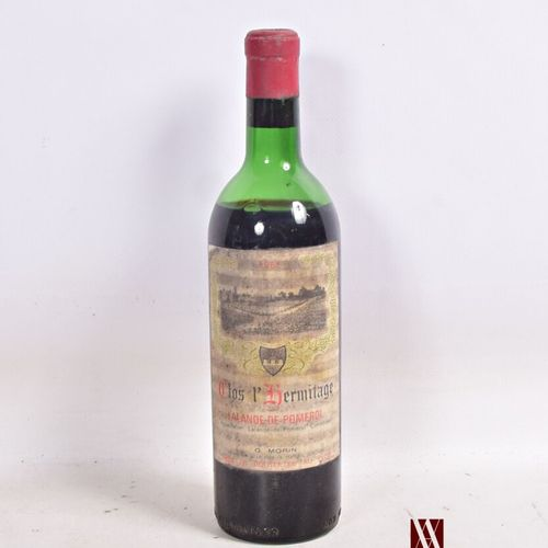 1 bouteilleCLOS L'HERMITAGELalande de Pomerol1961  Et. Fanée et tachée. N : …
