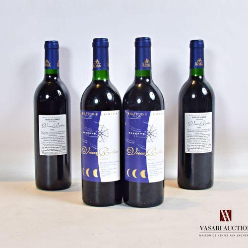 """4 bouteillesChâteau VIEUX ROBIN """"Bois de Lunier"""" RéserveMédoc CB1988  Présen…"""