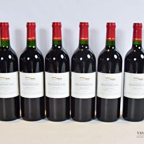 6 bouteillesChâteau de SEGONDIGNACMédoc1998  Et. Excellentes. N : 5 bas goul…