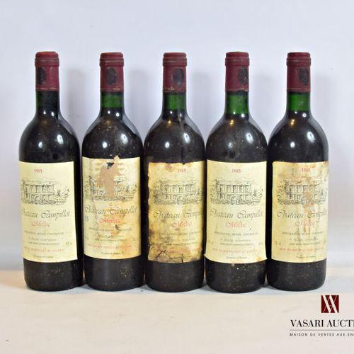5 bouteillesChâteau CAMPILLOTMédoc1985  Et.: 2 un peu tachées, 3 tachées, us…