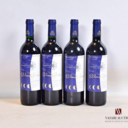 """4 bouteillesChâteau VIEUX ROBIN """"Bois de Lunier"""" RéserveMédoc CB2000  Présen…"""