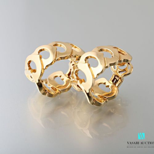 Cartier, Paire de boucles d'oreilles en or jaune 750 millièmes formées de sept C…
