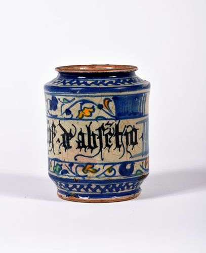 """Albarello in polychrome majolica decorated with flowers, fruit and a """"cof d'abfe…"""