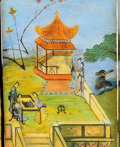 Paravent à quatre feuilles en toile peinte d'un paysage d'inspiration chinoise. …