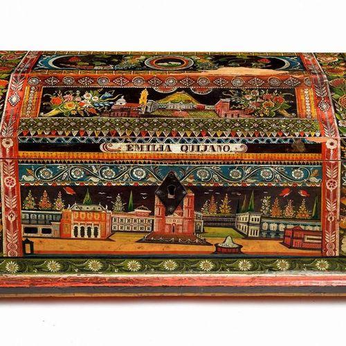 Grand coffret patronymique richement peint sur toute ses faces d'architectures d…