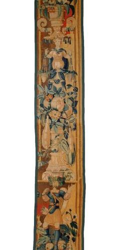 Fragment of a wool and silk tapestry border decorated with allegories and fruits…