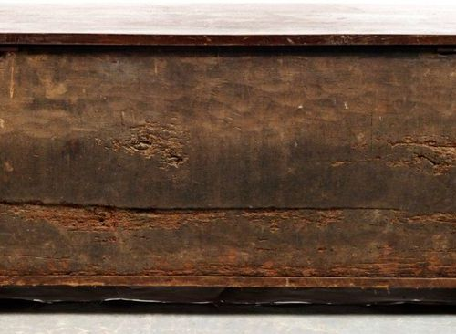 Dovetail mounted walnut chest. The front is decorated with four panels with parc…