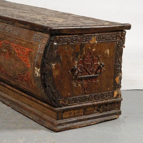Cassone made of wood, stuccoed and painted, decorated with scrolls, flowers and …