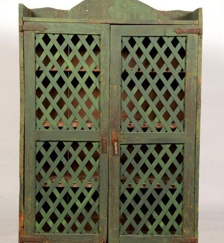 Wooden cupboard painted green. Spain, late 16th early 17th century. H.147 W.95 D…