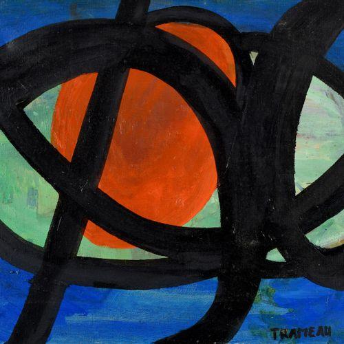 Raymond TRAMEAU (1897 1985) 蓝色、黑色、绿色和橙色的抽象构图 布面油画,右下角有签名 55 x 38 cm