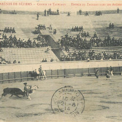 26 TAUROMACHY POSTCARDS: Béziers 16cp, Lunel 1cp, Nîmes 4cp & Diverses 5cp arena…