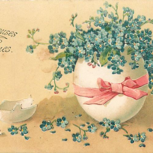 """63 FANTASTIC POST CARDS: The Myosotis 25cp and the Pensées 38cp. Including """"Happ…"""