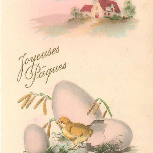 """25 FANTAISED POST CARDS: Easter and Bells. Including"""" Rooster and Hen, Egg Girl …"""
