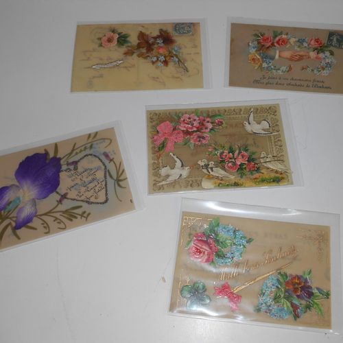 41 FANTAISHED POSTCARDS: Additions, Embroidered, Fabrics and Celuloids. Various …