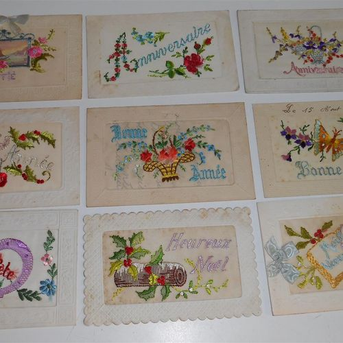 27 FANTAISIE POSTCARDS : Embroidered : Various Decorations, some Pockets & Openi…