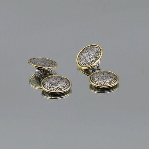 ROCHAS Paris  Paire de clips d'oreilles à pampilles en métal argenté à décor de …