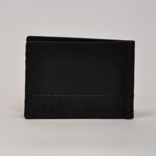 MONTBLANC  Portefeuille carte et billets, cuir grainé noir et imitation crocodil…