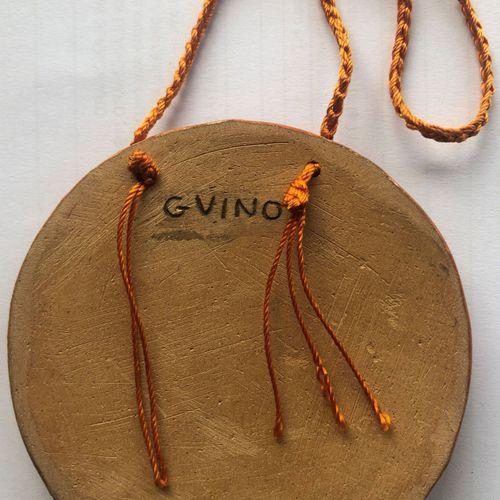 Richard GUINO (1890 1973)  Médaillon en terre cuite émaillée, Danse de deux Bacc…